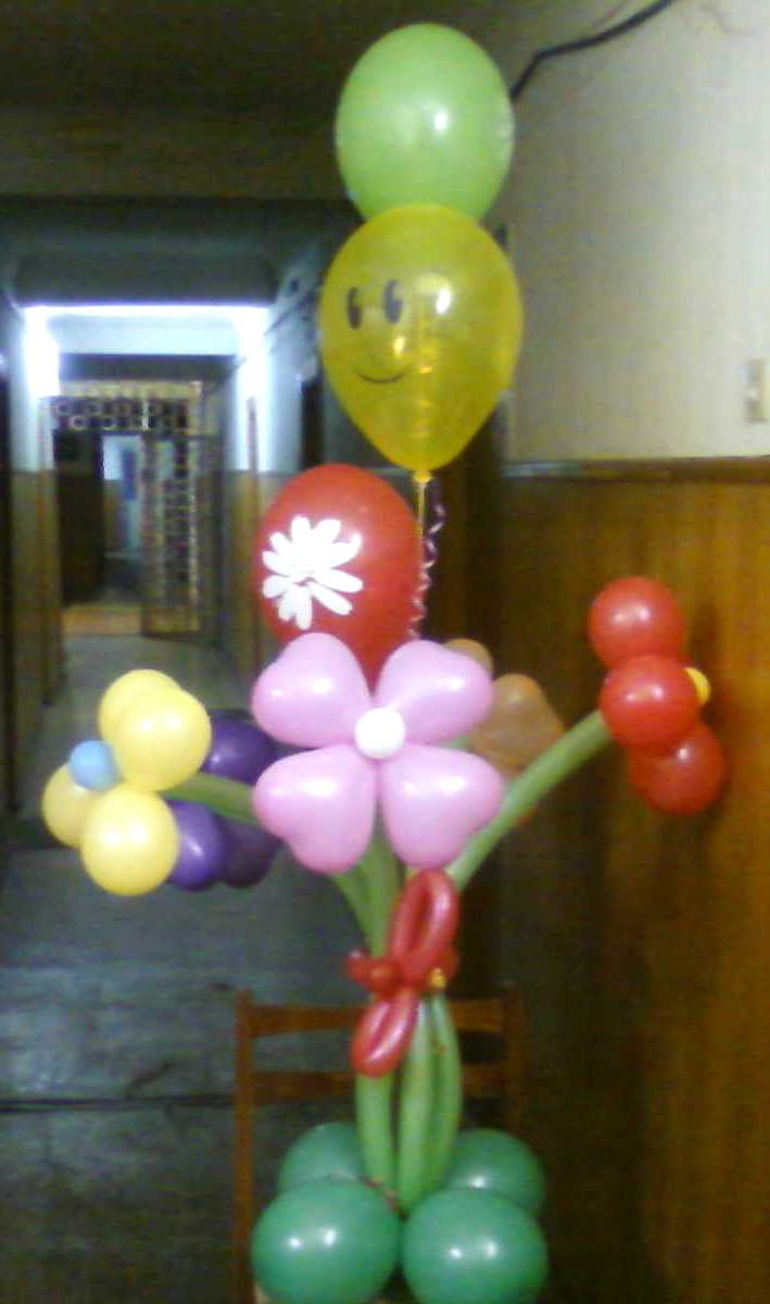 Букет шариков Цветы со смайликов на 1 апреля