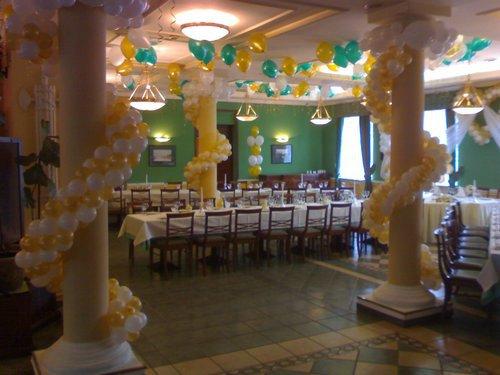 Свадебное оформление зала шариками