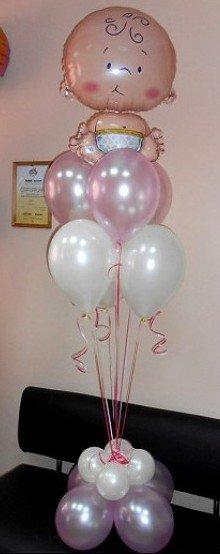 Воздушные шары на выписку из роддома Букет на рождение девочки