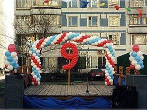 Украшение воздушными шарами на 9 мая
