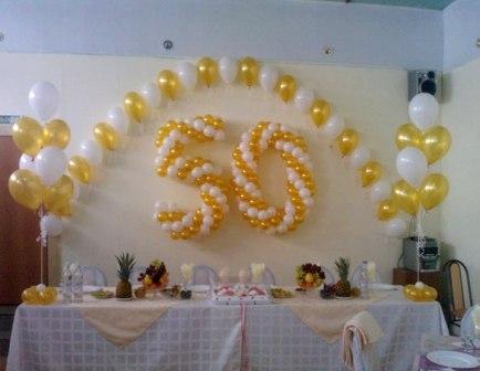 Оформление зала на юбилей воздушными шарами
