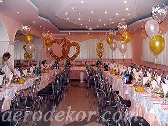 Украшение свадьбы воздушными шарами. Сердца из шаров.
