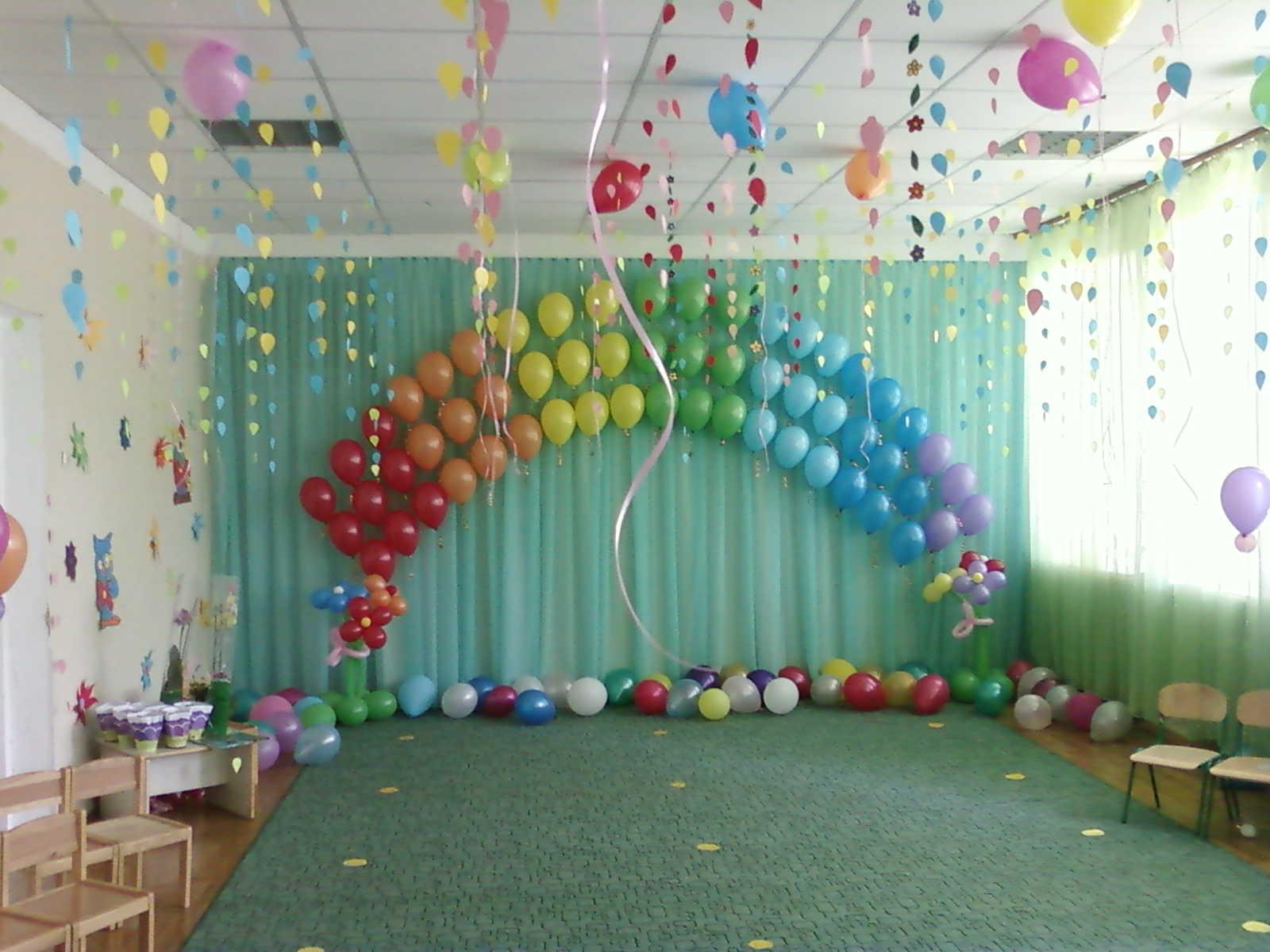 Оформление шариками Выпускного вечера в детском саду