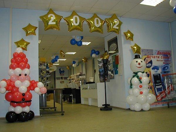 Фигуры из шаров: Дед Мороз, Снеговик
