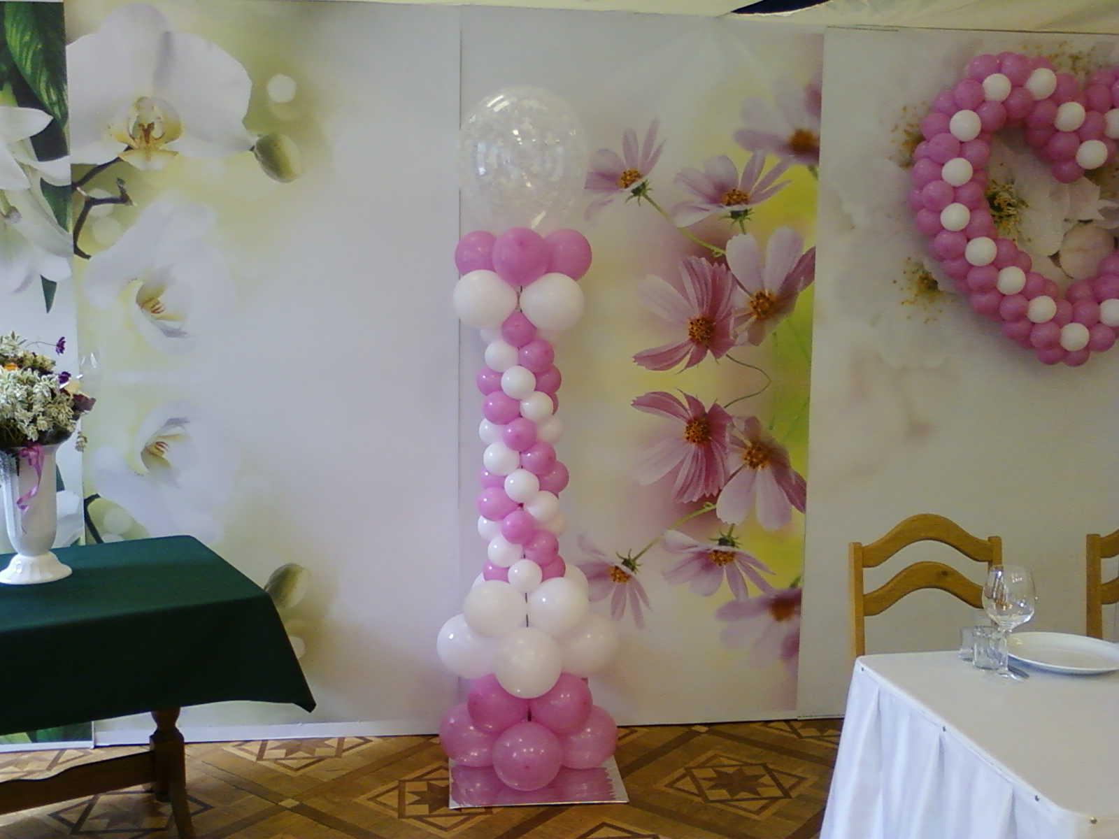 Украшение свадебного зала воздушными шарами