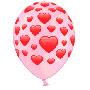 Гелевый шар розовые сердца